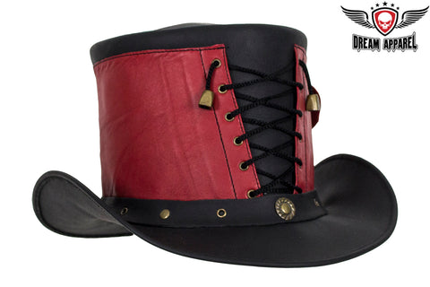 Red and Black Leather Deadman Top Hat