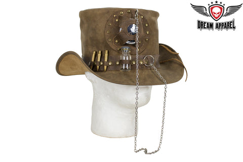 Brown Leather Deadman Top Hat