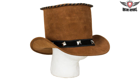 Brown Suede Deadman Top Hat