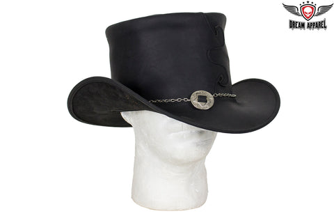 Black Leather Deadman Top Hat with Chrome Concho