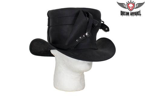Black Leather Deadman Top Hat with Gun Holsters
