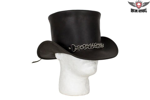 Black Leather Deadman Top Hat with Chrome Chain