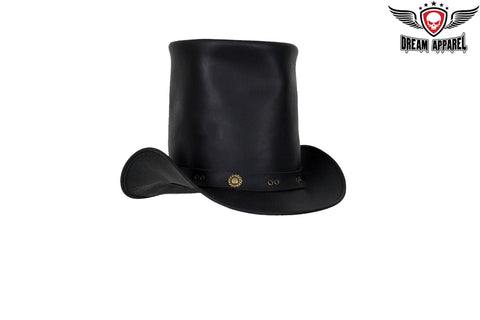 Black Leather Top Hat