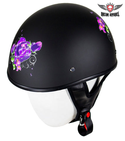 Womens Flat Black DOT Approved Helmet With Purple Rose Tribal Design
