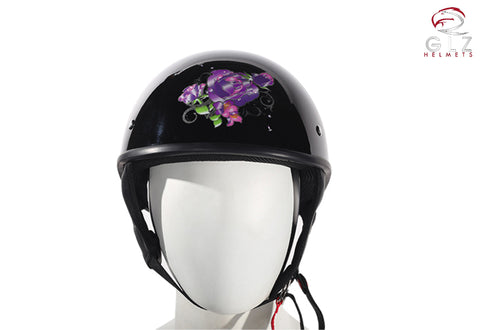 Womens Shiny Black DOT Approved Motorcycle Helmet W/ Purple Rose Design