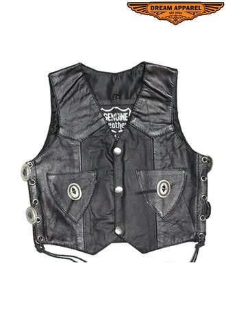 Toddler Kids Vest With Side Laces & Concho