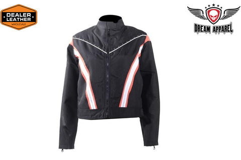 Women's Black Lightweight Racer Style Textile Jacket - Orange/White Strips And Studs
