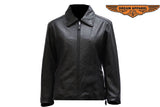 Women's Leather Jacket With Zippered Cuffs
