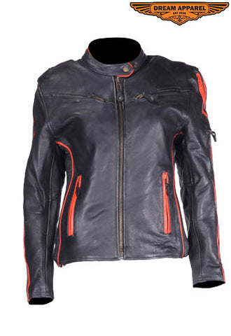 Women's Leather Racer Jacket With Double Orange Stripes Down Sleeves