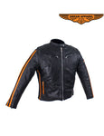 Women's Racer Jacket With Double Orange Stripes