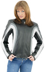 Women's Leather Jacket With Gray & White Stripes