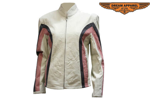 Womens Soft Leather Jacket With Silver  & Pink Stripes
