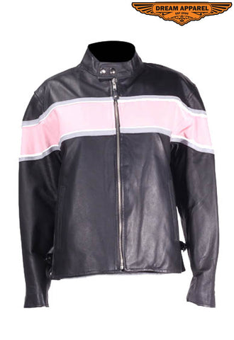 Womens Racer Jacket With Pink & Double Silver Stripes