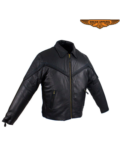 Women's Motorcycle Jacket With Fashionable Flat Braid