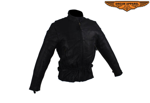 Women's Leather Racer Motorcycle Jacket With Double Reflector Stripes