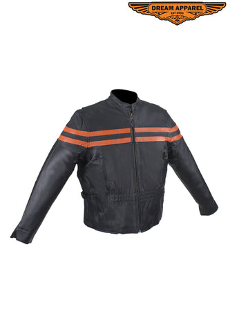 Leather Jacket For Women With Orange Stripes
