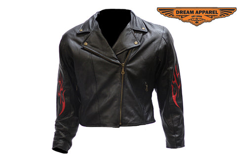 Women's Heavy Duty Leather Motorcycle Jacket With Flames