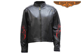 Womens Leather Motorcycle Jacket With Flames
