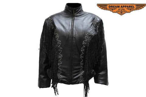 Women's Leather Jacket With Racer Style Collar