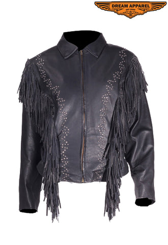 Women's Leather Jacket With Classic Collar