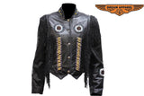 Women Leather Jacket with Beads