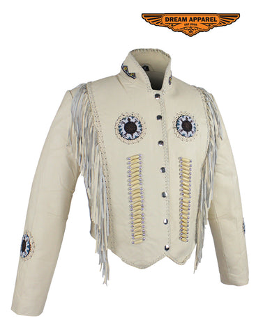Women's Beige Leather Jacket With Beads, Studs, Bone & Fringe