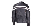 Womens Leather Racer Jacket With Double Pink Stripes