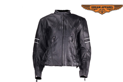 Womens Leather Jacket With Reflective Stripes On Sleeves
