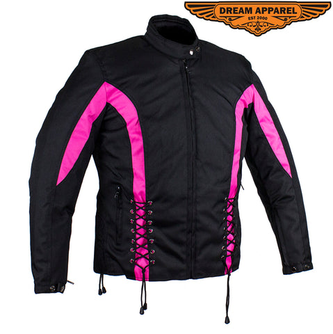 New Black & Pink Textile Racing Jacket