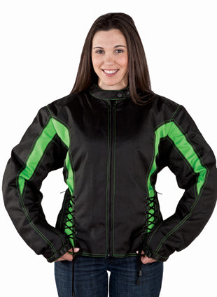 Women's Black & Green Textile Racer Jacket With Sidelaces