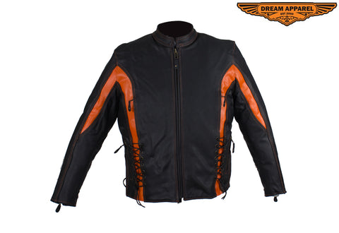Women's Black and Orange Leather Racer Jacket With Laces