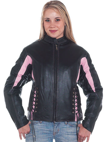 Womens Black & Pink Leather Racer Motorcycle Jacket With Z/o Lining