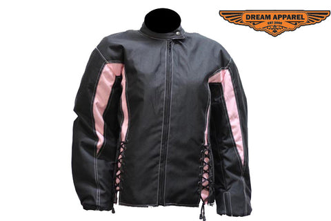 Womens Black & Pink Textile Racer Jacket With Zippered Cuffs