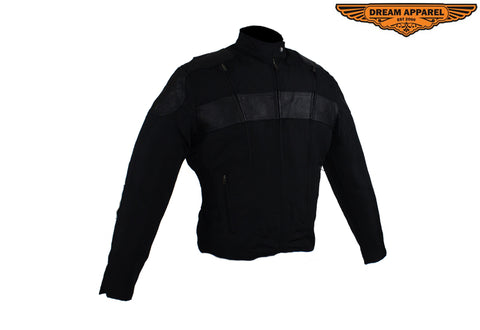 Womens Textile & Leather Racer Jacket