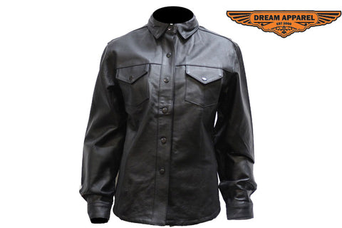 Womens Leather Shirt With Snaps Lining