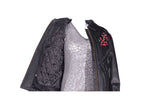 Womens Red Rose Inlay Leather Jacket