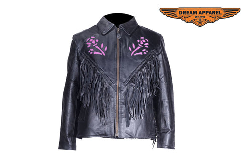 Women Puple Rose Inlay Jacket with Side Laces
