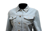 Womens Genuine Leather Made Denim Jacket