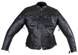 Women's Black Motorcycle Jacket with Reflective Skulls