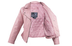 Womens Pink Top Grade Leather Motorcycle Jacket