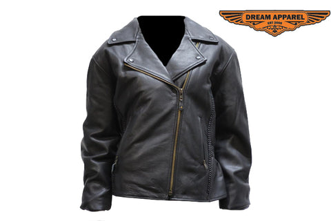 Womens Motorcycle Jacket With Snap Down Collar