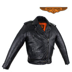 Womens Black Naked Cowhide Leather Motorcycle Jacket W/ Half Belt
