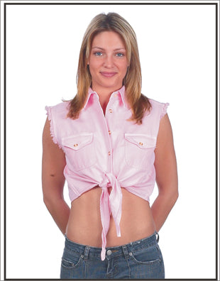 Women Pink Denim Sleeveless Shirt with Buttons