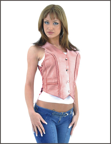 Womens Pink Leather Vest