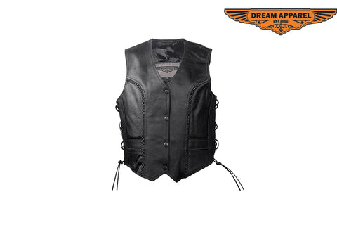 Womens Classic Style Vest with Snap Up