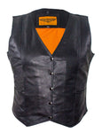 Womens Classic Motorcycle Vest With Snaps