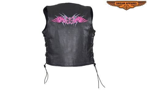 Black Gun Pocket Vest With Small Studded Pink Butterfly