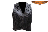 Women Black Rose Inlay Motorcycle Vest