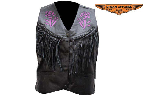 Women Purple Rose Inlay Vest