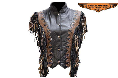Women Black and Brown Vest with Beads, Bone, Braid & Fringe with Snaps